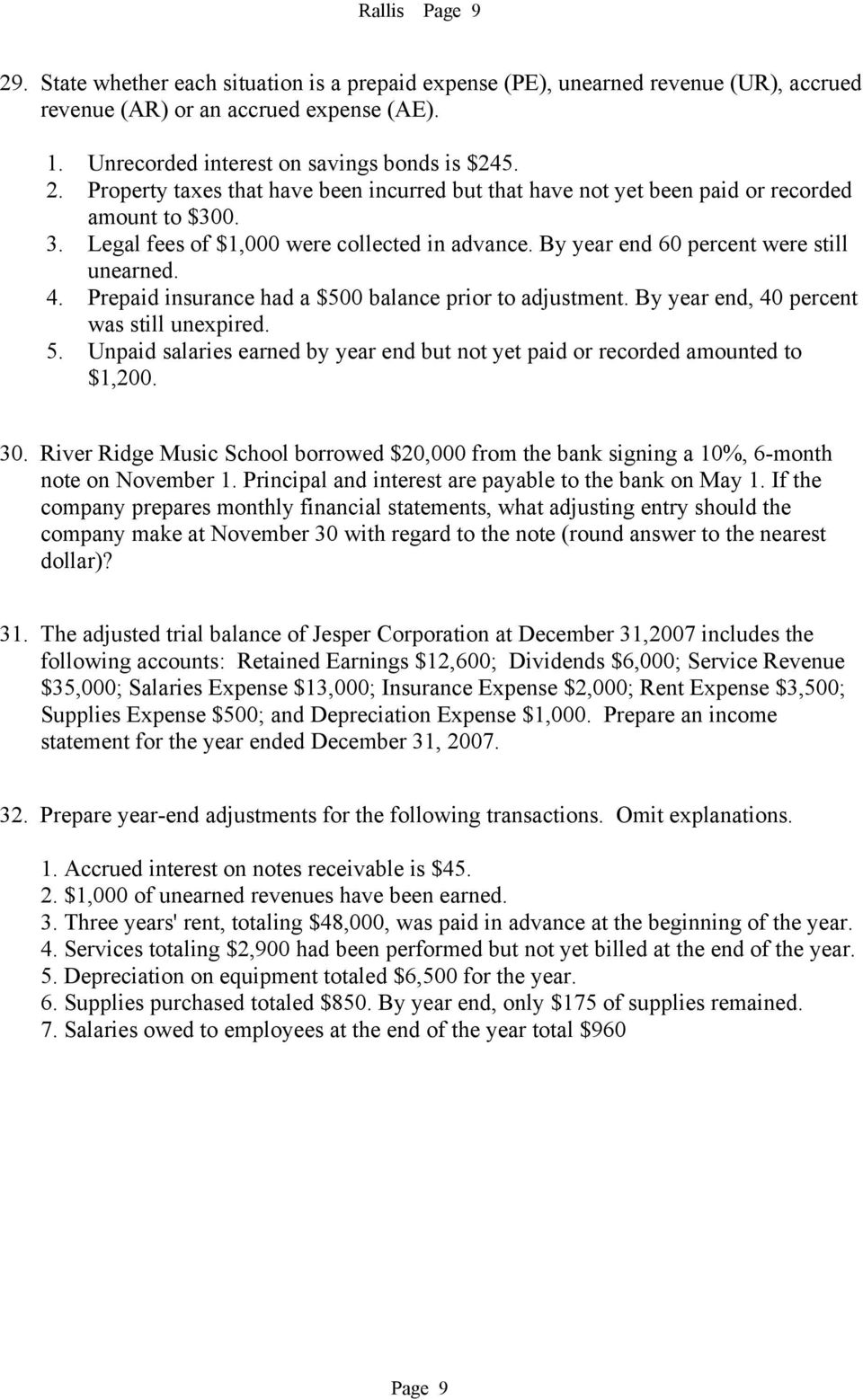 5. Unpaid salaries earned by year end but not yet paid or recorded amounted to $1,200. 30. River Ridge Music School borrowed $20,000 from the bank signing a 10%, 6-month note on November 1.
