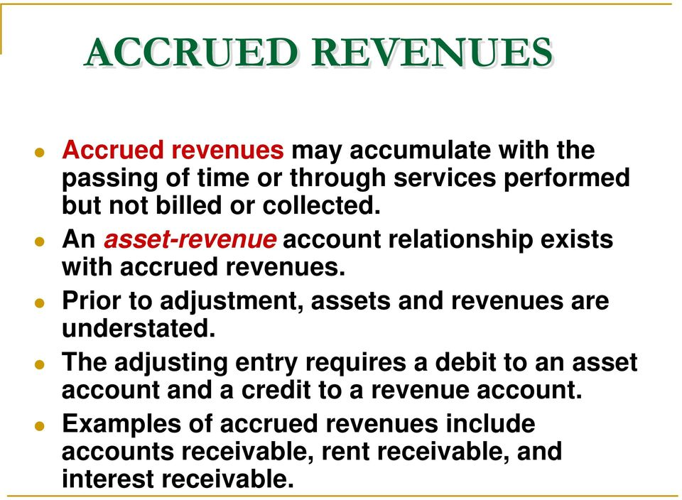 Prior to adjustment, assets and revenues are understated.
