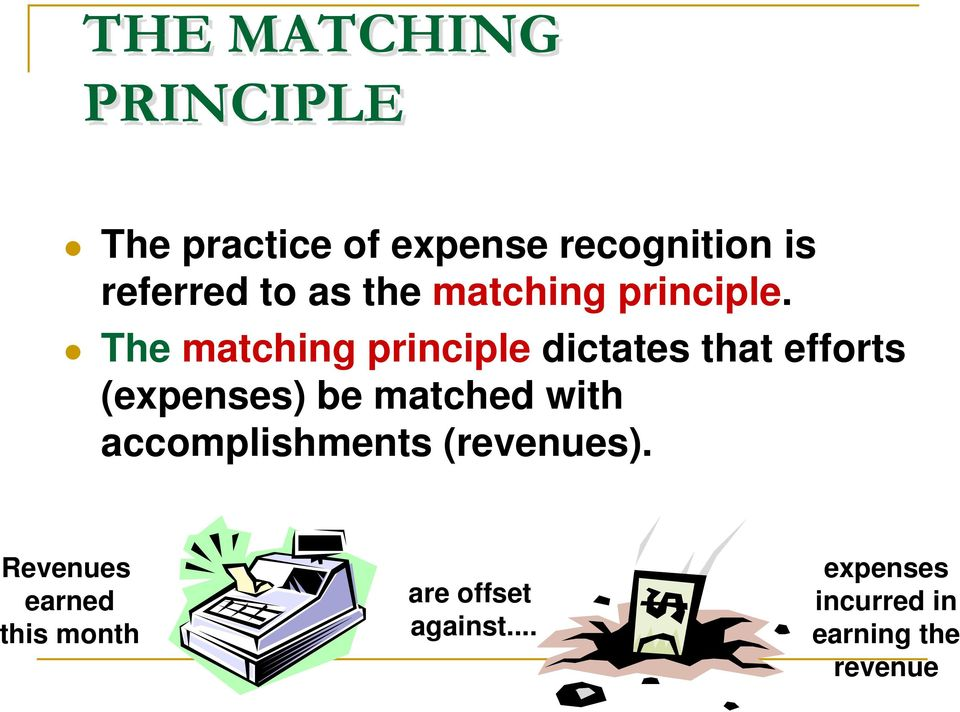 The matching principle dictates that efforts (expenses) be matched with