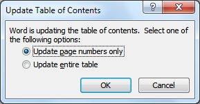 Editing The Text In Your Table of Contents Microsoft Word creates a table of contents dynamically. After editing your document, you may need to update your table of contents.