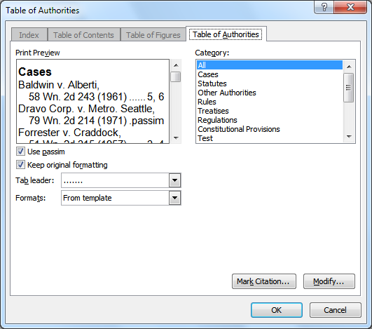 Creating a Table of Authorities To build a table of authorities, Microsoft Word searches for marked citations. After detecting them, it dynamically creates the table of authorities. 1.
