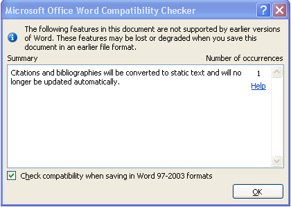 Running the Compatibility Checker There are many new features in Word 2007 which are not compatible with earlier versions of Word.