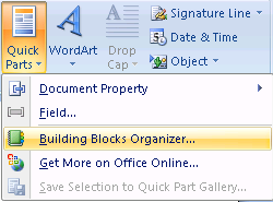 Building Blocks Building Blocks are pre-formatted elements such as cover pages, pull quotes, headers, footers, text boxes, quick parts, and other items that can be inserted into a document.