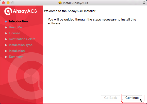 3. After you opened the disk image, run the acb.pkg. Ahsay Cloud Backup Suite 4.
