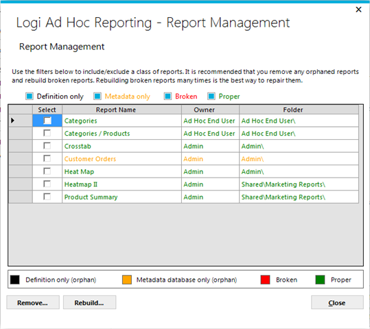 Page 108 Tools Report Management The Report Management utility is designed to allow the System Administrator to rectify various problems that can crop up in applications that require the