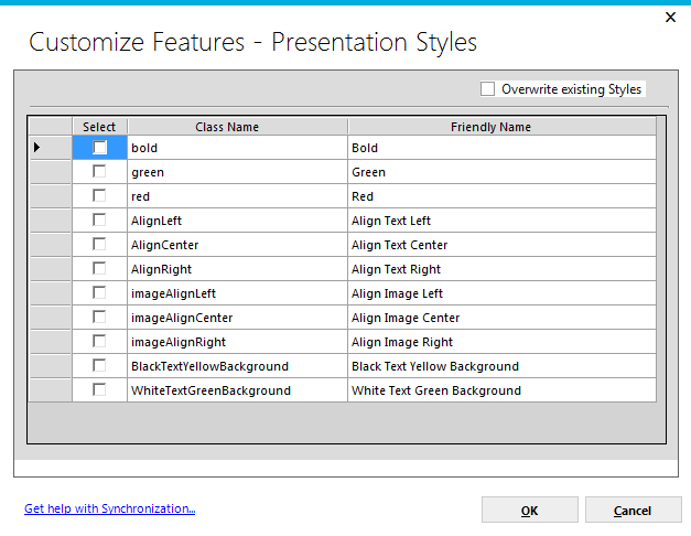 Page 127 Presentation Styles clicking on the checkbox will indicate that all presentation style information will be added to the synchronization package and, when applied, will add presentation