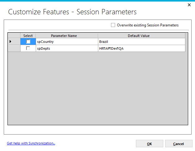 Page 129 Session Parameters clicking on the checkbox will indicate that all session parameter information will be added to the synchronization package and, when applied, will add session parameters