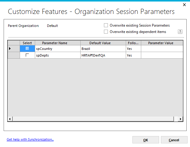 Page 131 Selected Organization Organization Session Parameters clicking on the checkbox will indicate that all organization session parameter information will be added to the synchronization package
