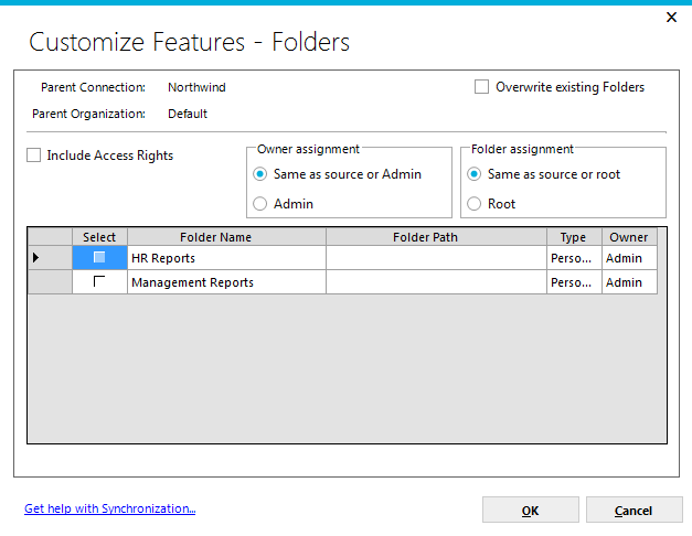 Page 139 Content Items Folders clicking on the checkbox will indicate that all folder information will be added to the synchronization package and, when applied, will add folders to the target