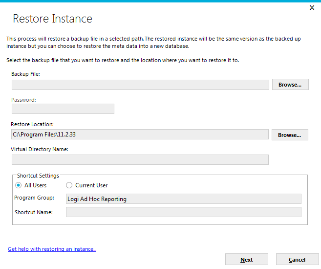 Page 29 Click on the Manage an Instance action group and the Restore Instance action to initiate the restore process.