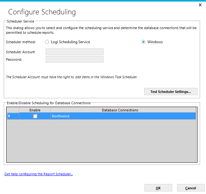 Page 63 The Configure Scheduling dialog will be displayed. The first decision for the System Administrator will be to use either the Windows Task Scheduler or the Logi Ad Hoc Scheduler Service.