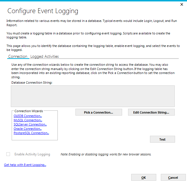 The Configure Event Logging dialog will be displayed with the Connection tab selected initially. Page 74 Once the AdHocLog table has been created, a connection to the logging database must be created.