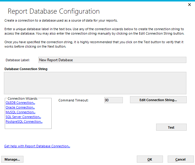 Clicking on either the Add or Edit button will display the Report Database Configuration dialog.