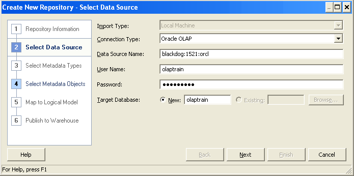 Importing Metadata into Oracle BI The Physical Schema is created in the Oracle BI repository using the Import Metadata feature in the Oracle BI Administration tool.