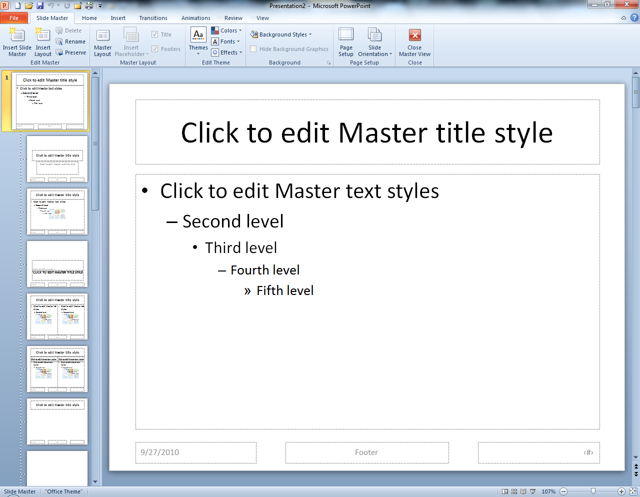 The Slide Master tab will appear. 5. A list of various slide masters will appear in the slide layout pane. 6.