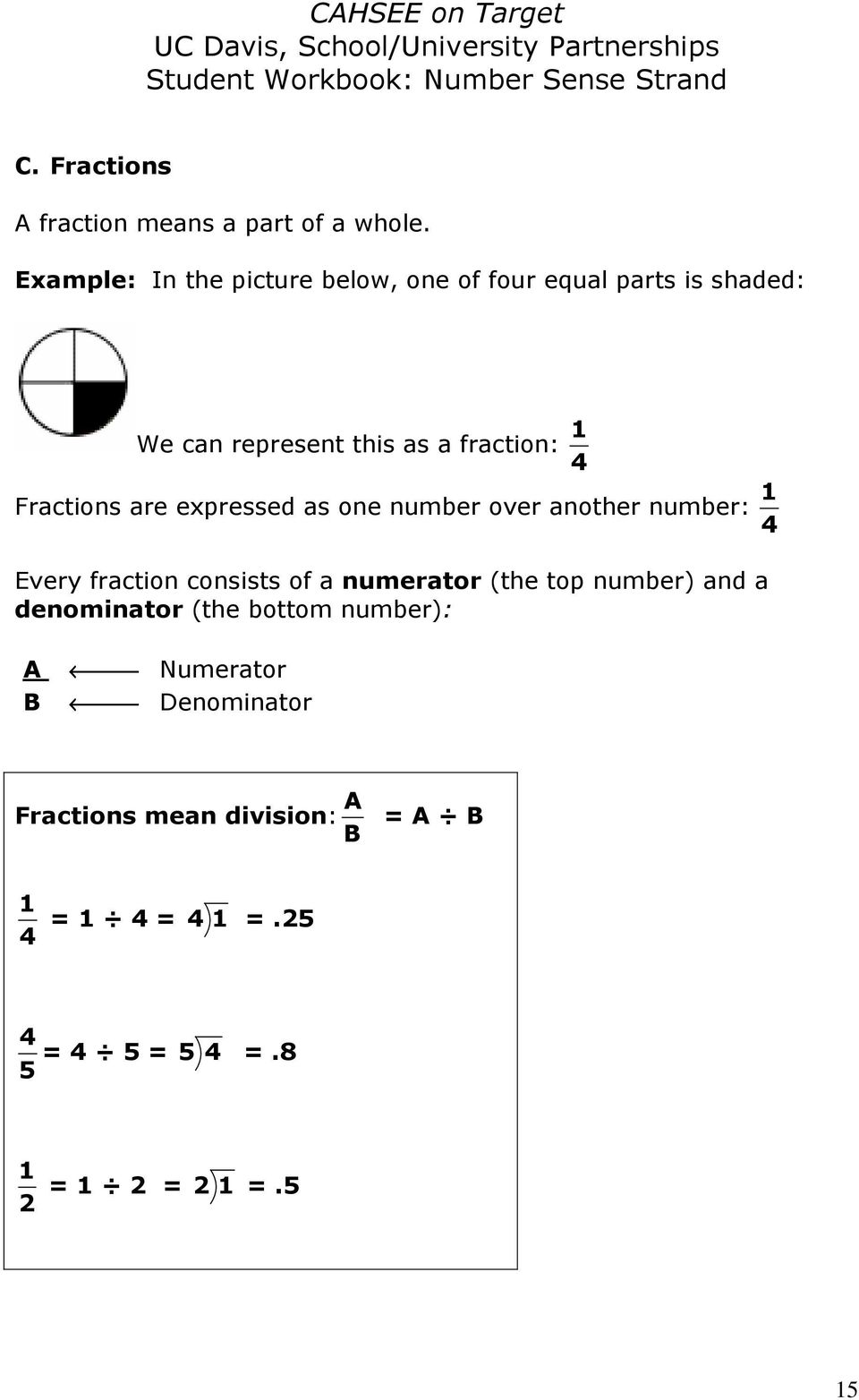Fractions are expressed as one number over another number: 4 1 Every fraction consists of a numerator (the