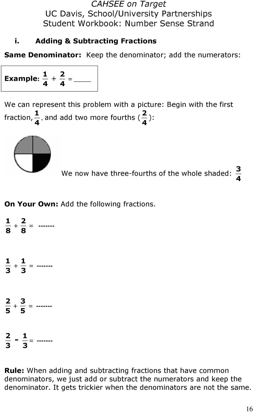 the following fractions.