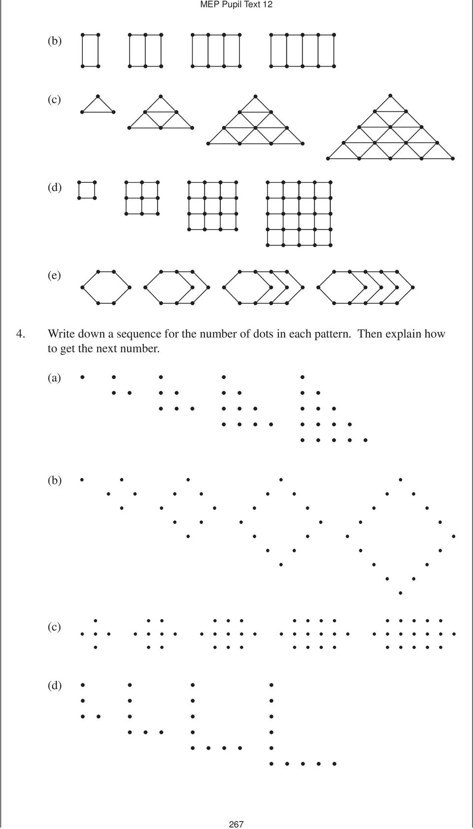 number of dots in each pattern.