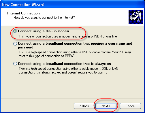 Novatel Wireless Merlin UMTS/HSPA Modem Dialup Networking on XP 2 New Connection Wizard - click Next to continue Network Connection Type Select 'Connect to the Internet' and click