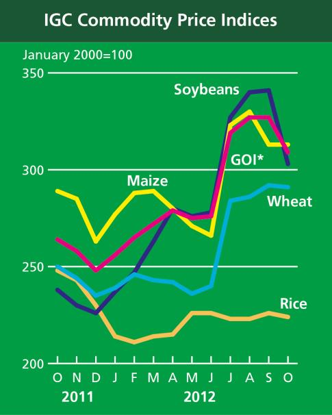 8% (US No.2, Yellow) 1 Nov 606 608 607 462-0.3% 31. Food Price Index FAO food price indices Meat Dairy Cereals Oils and Fats commodity price indices Sugar GOI* Rice (................. 2002-2004 =.
