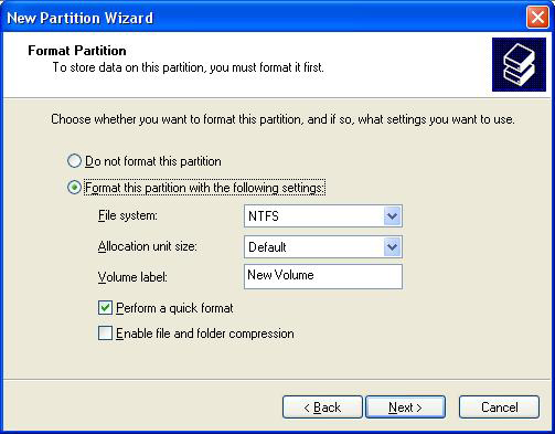 4. Select the partition type you wish to create by clicking on Primary or Extended, as appropriate. When you have made your selection, click Next to continue. 5.
