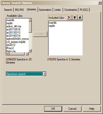 Search tab will display a multiple-tab Library Search Options dialog box (Figure 27). A number of different types of spectral comparison routines for choosing the best matching spectra are available.