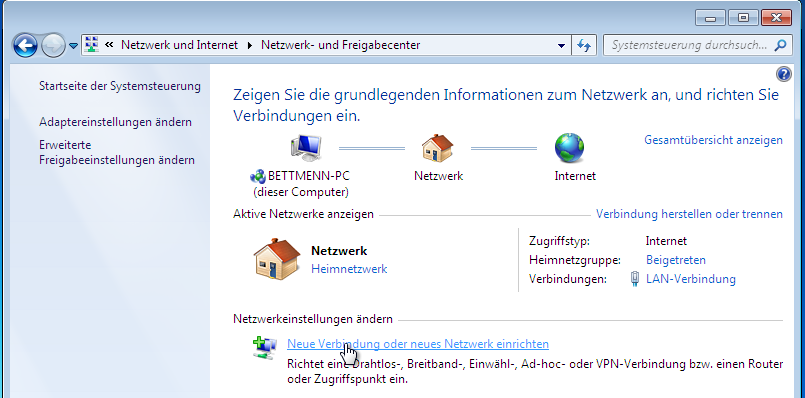 "2) Click on ""View network status and tasks""."