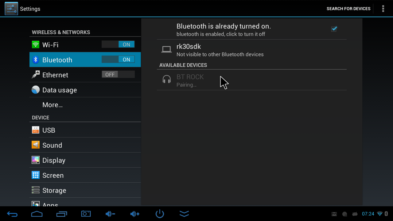 4.3 Connecting Bluetooth devices To connect a Bluetooth device, open the Bluetooth menu in the left panel of the settings menu.