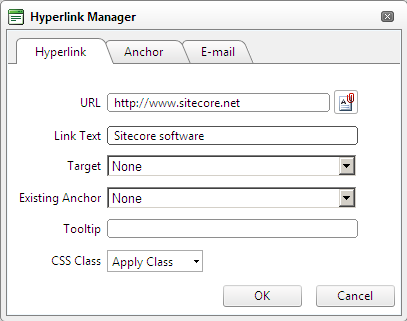 2. Click the Insert Sitecore Link button. 3. In the Insert a Link dialog box, in the Internal Link tab, expand the content tree and select the item that you want to create a link to.