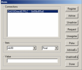 FIGURE 7: CREATE CONNECTION DIALOG BOX 4. Click Create, then Done. The WWClient window should now appear similar to Figure 8 (below): FIGURE 8: WWCLIENT SHOWING CONNECTION WITH THE DASSIDIRECT 5.