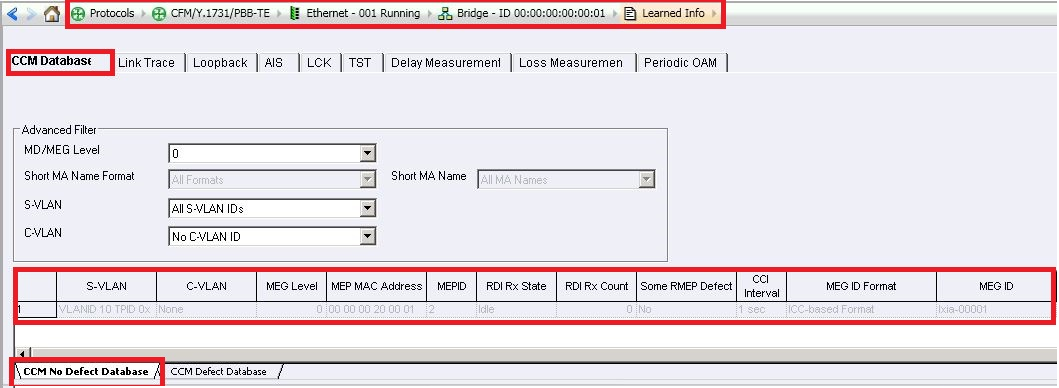 Add CFM Aggregated Statistics in the Statistics view and verify correct  number of MEP/MIP