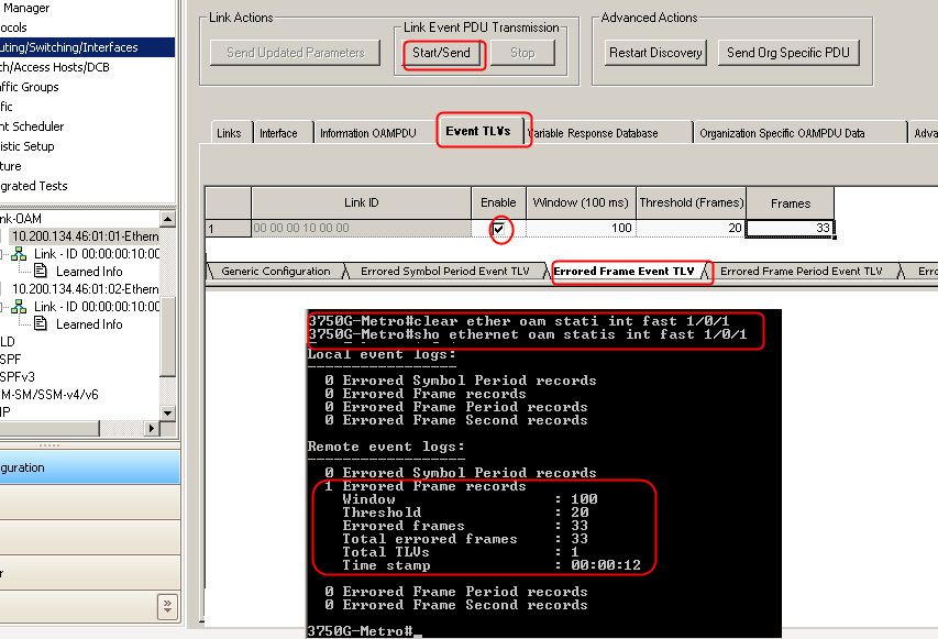 Test Case: Ethernet/Link OAM Event Notification Similarly, enable the Ixia  side to