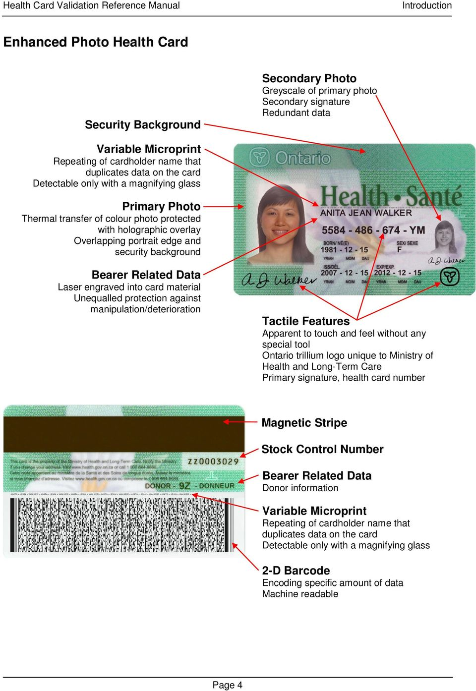 Bearer Related Data Laser engraved into card material Unequalled protection against manipulation/deterioration Tactile Features Apparent to touch and feel without any special tool Ontario trillium
