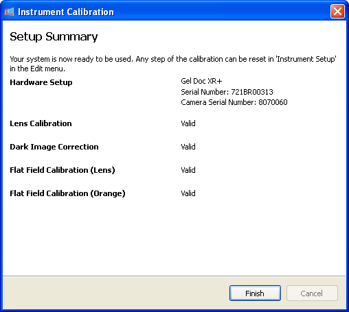 8. This calibration only displays if you have selected the White Light Conversion Screen in Step 2. Perform the steps listed on the screen, then click the Start Calibration button.