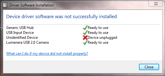 Windows Vista 1. After the power is turned on, the PC will automatically recognize the imager, and this screen prompts you to install the drivers. Click Locate and install driver software.