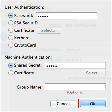 Step 4: Click Authentication Settings to specify the password and the shared key.