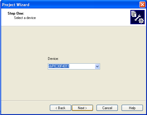 1 To create a new project file select from the MPLAB menu Project Project Wizard. This opens a standard Windows dialog that asks you for the new project file name.