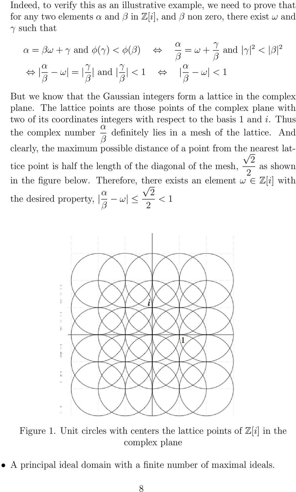 The lattice points are those points of the complex plane with two of its coordinates integers with respect to the basis 1 and i. Thus the complex number α definitely lies in a mesh of the lattice.