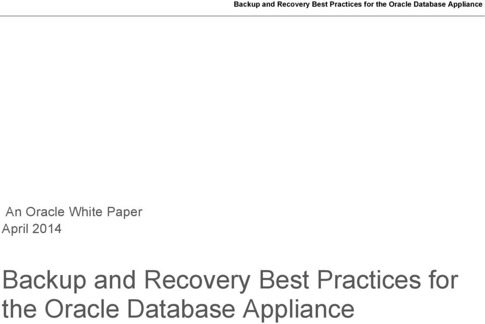 Oracle database backup and recovery