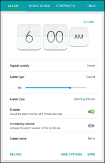 2. Set the alarm options, including time, days, and repeat pattern. For more options, tap Options. 3. When finished, tap Save.