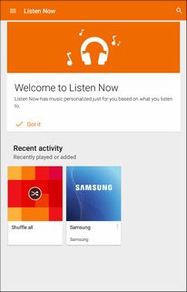 Create Playlists in Google Play Music Organize music into playlists to fit every occasion. 1. From home, tap Apps > Play Music. The Play Music app opens to the Listen Now screen. 2.