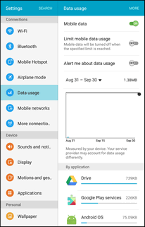 The data usage window opens. Data Usage Settings Operations Mobile data: Tap ON/OFF next to Mobile data.