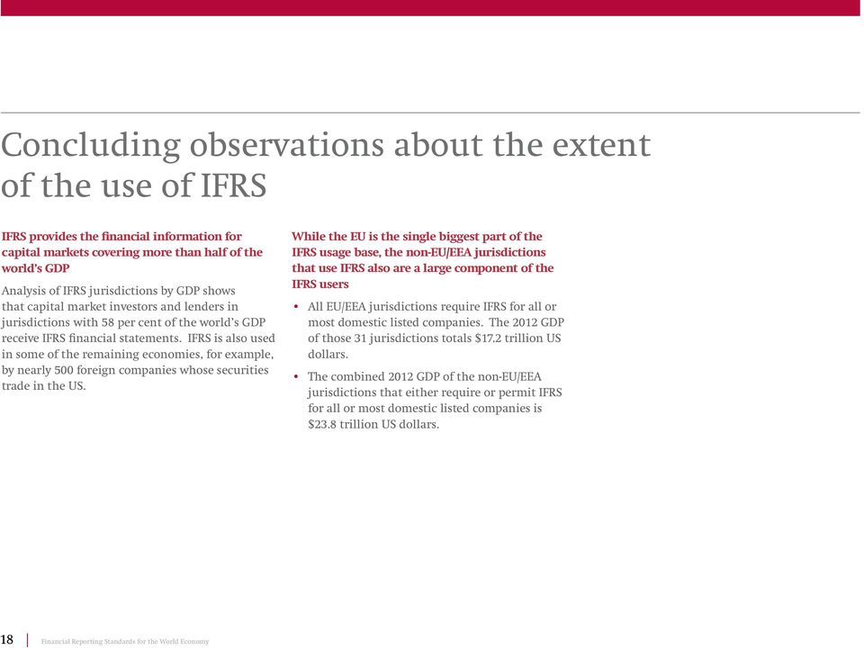IFRS is also used in some of the remaining economies, for example, by nearly 500 foreign companies whose securities trade in the US.