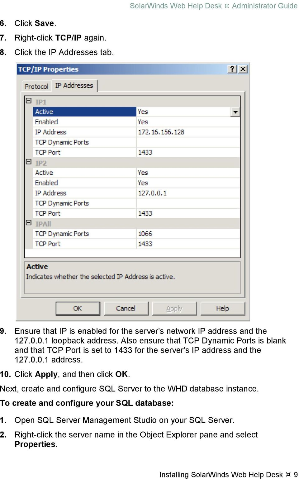Solarwinds web help desk administrator guide pdf also ensure that tcp dynamic ports is blank and that tcp port is set to 1433 kristyandbryce Choice Image
