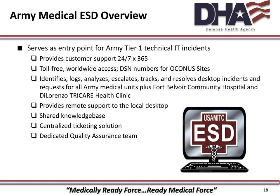 requests for all Army medical units plus Fort Belvoir Community Hospital and DiLorenzo TRICARE Health Clinic Provides remote support to