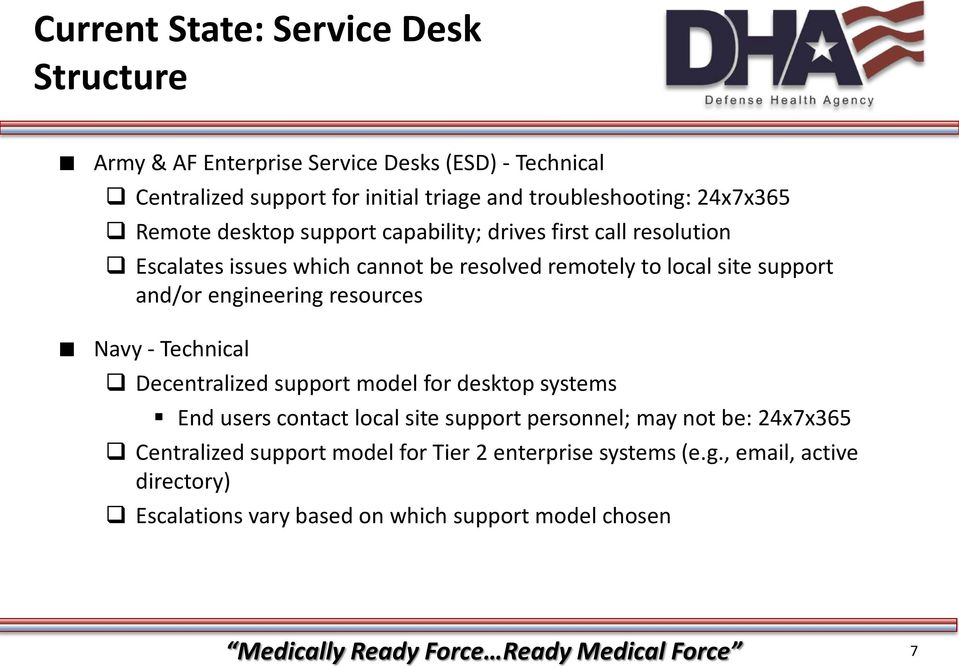 resources Navy - Technical Decentralized support model for desktop systems End users contact local site support personnel; may not be: 24x7x365 Centralized