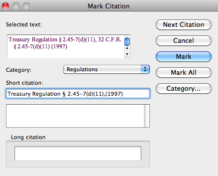 8. The Mark Citation dialog will appear. 9. Edit the full citation as you want it to appear in your table of authorities in the Selected Text field. 10.