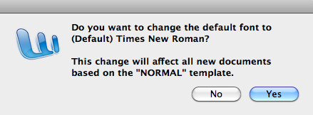 Changing Your Default Font The default font in Word 2011 is Cambria, 12 pt. To change it, follow the instructions listed below. 1. Click on the word Format in the Apple menu bar. 2. Select the Font option.