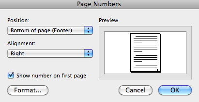 Page Numbers Adding Page Numbers To work with page numbers in Word 2011, you must be in the Print Layout view.