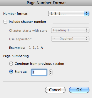 14. Once the old page numbers are deleted from the Footer Section 2 area, click on the word Insert in the Apple menu bar. 15. Click on the Page Numbers option. 16. The Page Numbers dialog will appear.